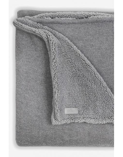 вязаный плед для новорожденного с мехом Jollein Natural серый