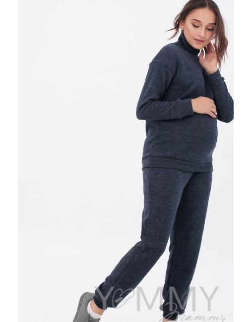 ea159a6af971 Костюм для беременных и кормящих из плотного вязанного трикотажа,  темно-синий меланж ...