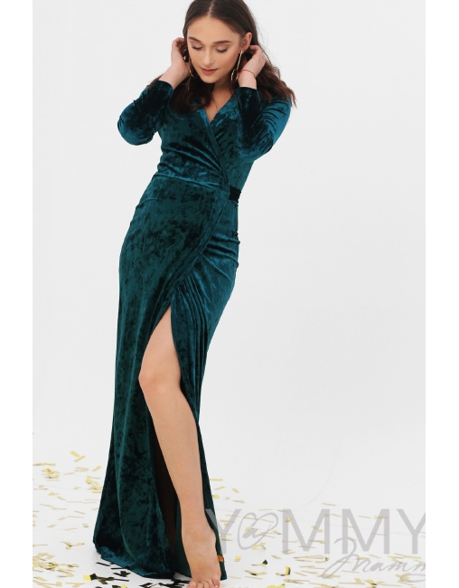531d27b50618cba Вечернее платье для кормящих и беременных длинное бархатное на запах, ...