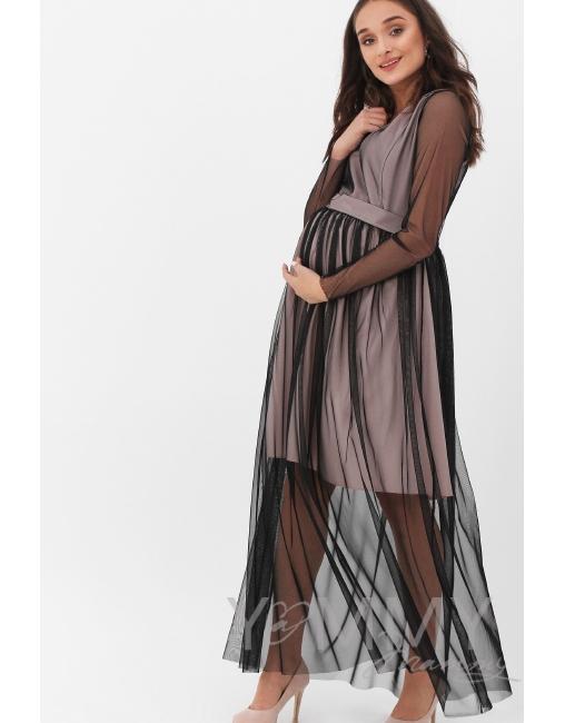 dab755b8b515c86 Вечернее платье для кормящих и беременных с поясом, цвет розовый с черной  сеткой ...