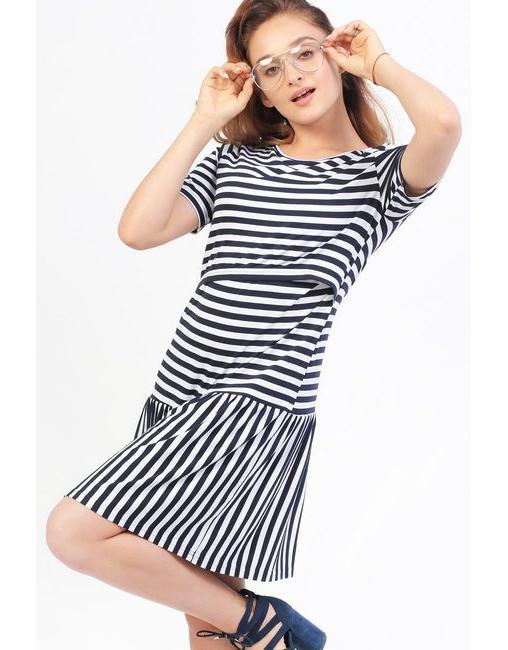 d236ca03671c26b Платье Платье для кормящих и беременных с воланом, в полоскус воланом в  полоску для кормящих ...